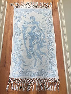 10Pc LOT* VTG 40s *FRINGED BATH TOWEL w/NUDE GODDESS & CHERUB+ Set DAMASK NAPKIN