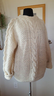Vintage Androgynous Women Men Heavy Wool Sweater Off White Ivory Cable Knit M L