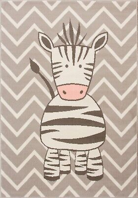 Kids Grey Chevron Play Room Nursery Rugs Zebra Animal Safari Fun Bedroom Rug Mat