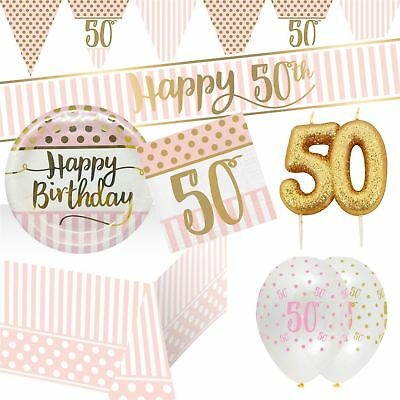 50th Pink Chic Happy Birthday Decorations Party Tableware Metallic Gold Age 50