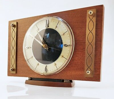 Vintage Retro 1960-70s METAMEC Quarts(Battery) Brass & Wood Mantle Clock MCM