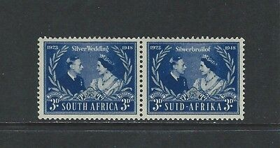 SOUTH AFRICA - #106 - 3d KING GEORGE VI SILVER WEDDING MINT PAIR (1948) MLH