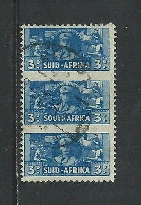 SOUTH AFRICA - #94 - 3d WAR EFFORT ROULETTED USED STRIP OF 3 (1942)