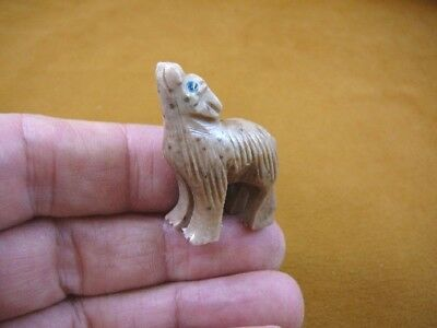 Y-COY-54) tan spotted COYOTE wolf wild dog carving SOAPSTONE stone PERU FIGURINE