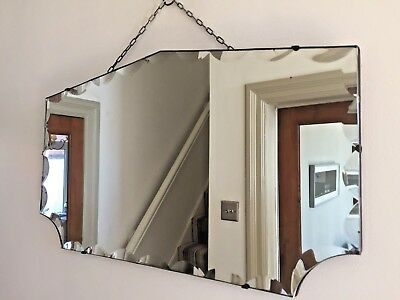 Vintage Frameless Fan Mirror Bevelled Edge 1940s 1950s Original Chain 66x38cm