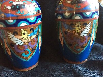 Cloisonné Vases Bright Clour Irridescent Mythical Bird Dragons Flowers Featured
