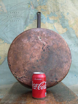 LARGE OLD HAND MADE ANTIQUE VICTORIAN HEAVY COPPER SKILLET FRYING PAN 35cm 4.5kg
