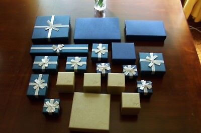 LOT of 19 assorted sizes gift jewelry boxes most padded with white fabric foam