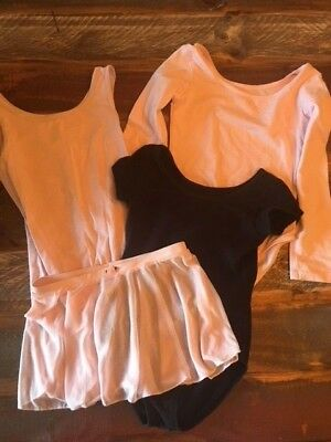 EUC Girls DANSKIN Dance Ballet Leotards Medium 6X and 7/8 Pink Black