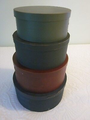 Set 4 Vintage Shaker-Style Bentwood Nesting Boxes Blue Red Green Grey