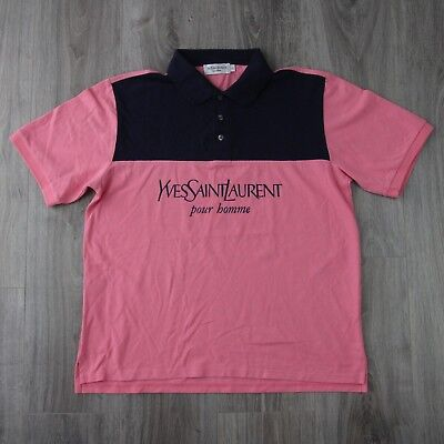 b2e72f7af08 Mens Vintage Yves Saint Laurent Spell Out YSL Pour Homme Polo Shirt 2XL  Pink XXL