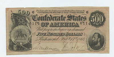 1864 $500 Confederate Currency Note Stonewall Jackson - VG- PINHOLES -#14057