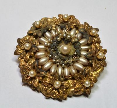 Vintage 50s Signed MIRIAM HASKELL Goldtone Faux Pearls Round Shape Pin Brooch