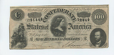 1864 $100 -EF- The CONFEDERATE States of America CIVIL WAR ERA #14064