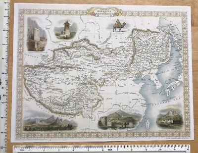 "Antique vintage colour map 1800s: Tibet, Mongolia Tallis 12 X 9.5"" Reprint"