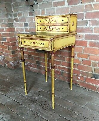 Antique Regency Style Hand Painted Bonheur Du Jour Writing Desk Leather Top