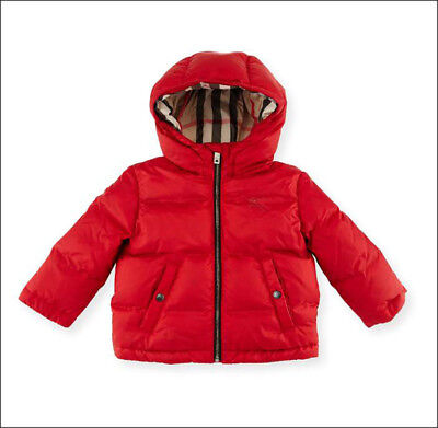 ccaf69227f96 AUTH NWT BURBERRY Rio Jacket Kids Infant Unisex Puffer Hooded Red Check 12  Month -  199.99