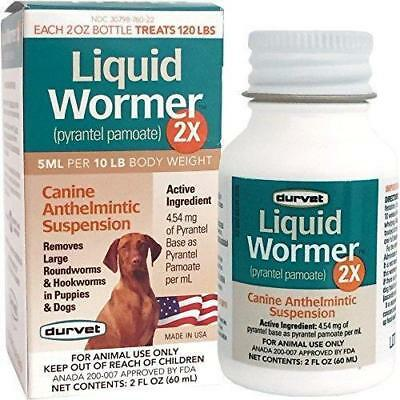Durvet Liquid Wormer 2X pyrantel Pamote Dog Anthelmintic Suspension 2oz