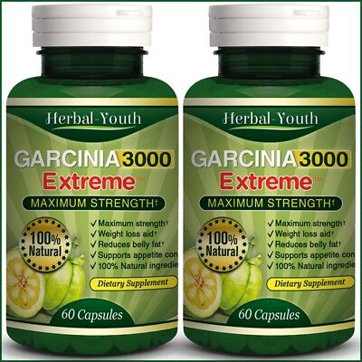 2 BOTTLES ◆ 120 GARCINIA CAMBOGIA Capsules 3000mg Daily UK CHEAPEST Diet Pills