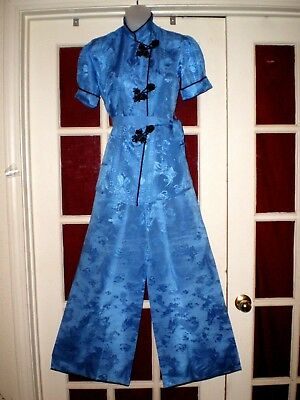 Antique Chinese Deco Blue Silk Damask Jacket/Robe Pants Outfit  not embroidered