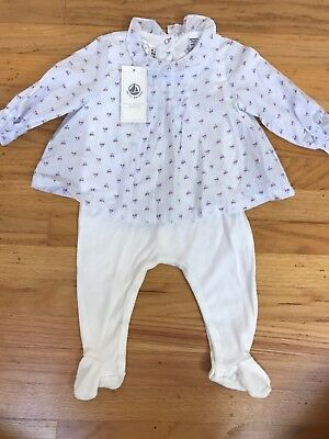 Nwt Size 3 Months Petit Bateau Footie With Pink Checkered Overlay