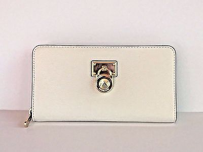 e4f04535078997 Michael Kors Hamilton Traveler Optic White Gold LG Zip Around Wallet - Pad  lock