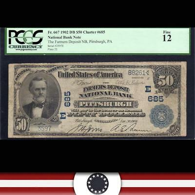 1902 $50 PITTSBURGH, PA National Bank Note PCGS 12   3597