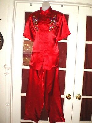 NICE Vtg Chinese Silk Blend Top/Robe & Pants Outfit Embroidered Birds/Flowers XL