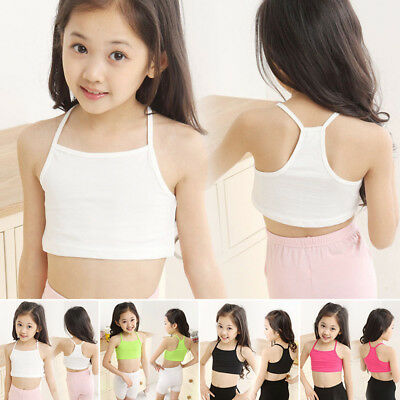 Baby Kids Girls Underwear Crop Yoga Dance Brassiere Tee Cami Bra Vest Top 3-9T