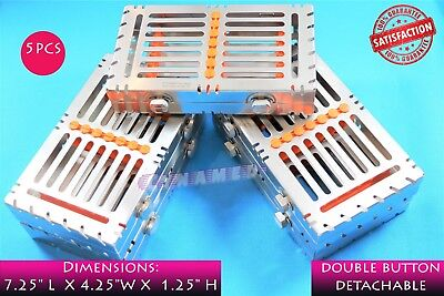 5Ea German Detachable Sterilization Trays With Double Button For 7 Instruments