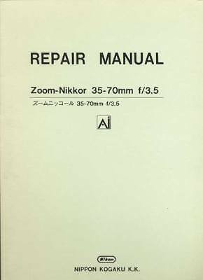 OEM Nikon Zoom Nikkor 35-70mm F3.5 AI Original Factory Service Repair Manual