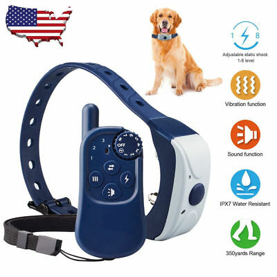 Dog Shock Training Collar Waterproof Rechargeable Remote 350 Yards Electric LCD