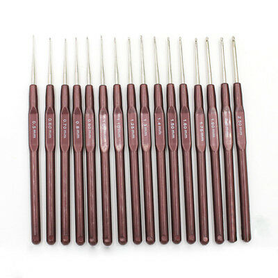 16pcs ABS Handle Crochet Hooks Knitting Needles Set Crochetings and Knuckles 0K8