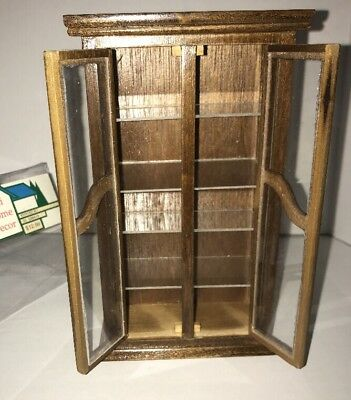 Dollhouse Miniature Curio Cabinet Bookshelf  Shelf Brown Wood