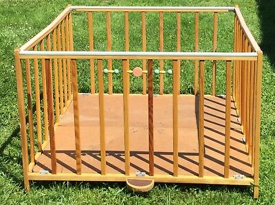 Old Vtg Antique Wood Playpen Abbott Step Fold Crib Baby Bed Nursery Child Play