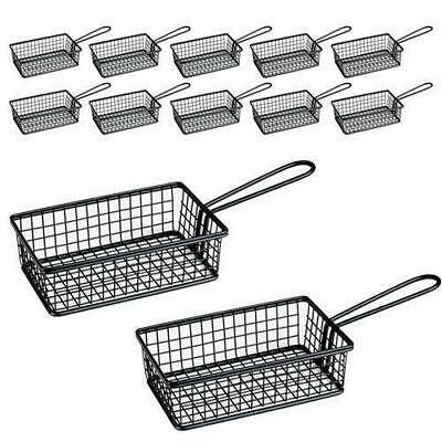 12x Fryer Style Serving Basket 160x104mm, Black, Chips / Fries / Sides / Tapas