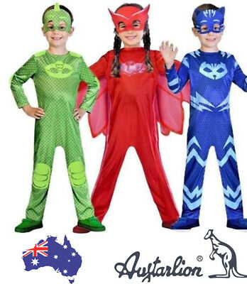 Kids Superhero PJ Masks Cape Mask Boy Girls Owlette Catboy Gekko Cosplay Costume