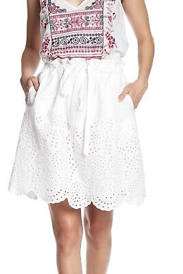 ca54442ab NEW Johnny Was Women's Eyelet Embroidered Scalloped Skirt White Size Large  NWT