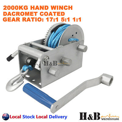 2000KG Hand Winch Dyneema Rope 3 Speed 7mm X 8M Winch Rope Marine Boat Trailer
