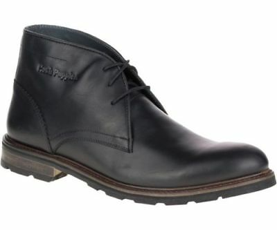 Hush Puppies BENSON RIGBY Men's Black Leather Boots Retail $180