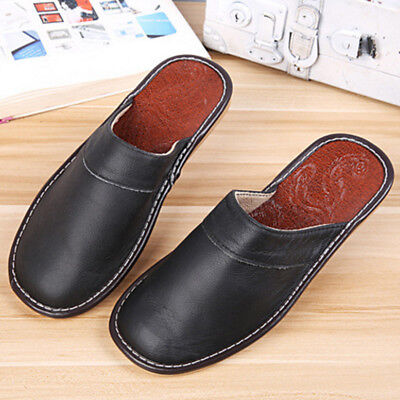 Men Slippers Shoes Classic Leather Closed Toe Indoor House Home Slipper Size8-10