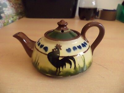 Longpark Torquay Old Vintage Motto Ware Pottery Small Cockerel Tea Pot Teapot