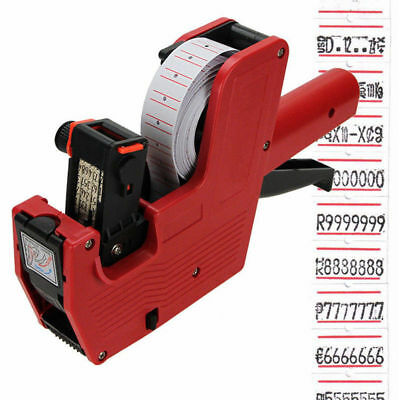MX-5500 8 Digits EOS Price Tag Gun +Ink Roll +5000 White w/ Red Lines Labels Bit