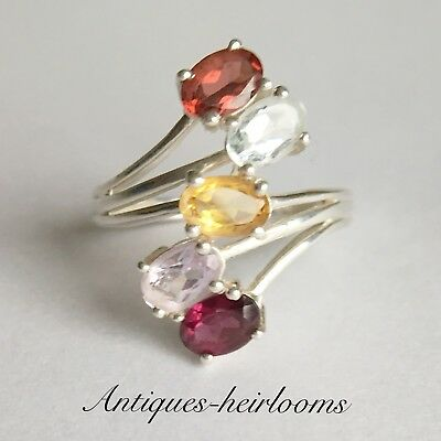 Quality Vintage Solid Silver Ring Set With 4 Coloured Gem Stones Hallmarked 925