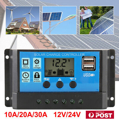 12V/24V 20A /30A Solar Panel Battery Regulator Charge Controller PWM LCD Display