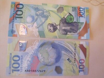 Russia 100 Rubles ! 2018 FIFA World Cup Football ! UNC ! Polуmer