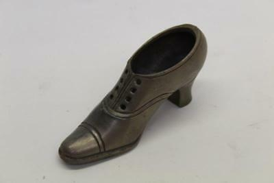 Vintage Metal Pewter ? Miniature Shoe Pin Cushion Sewing Accessory Display A/F2