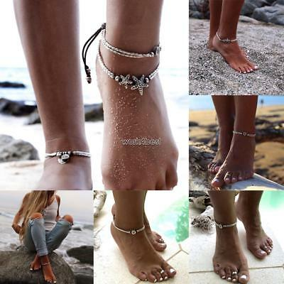 Women Men Adjustable Layered Beads Anklet Beach Starfish Ankle Bracelets WST