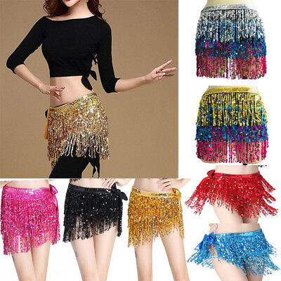 Belly Dance Dancer Costume Sequins Tassel Fringe Hip Scarf Belt Waist Wrap Skirt