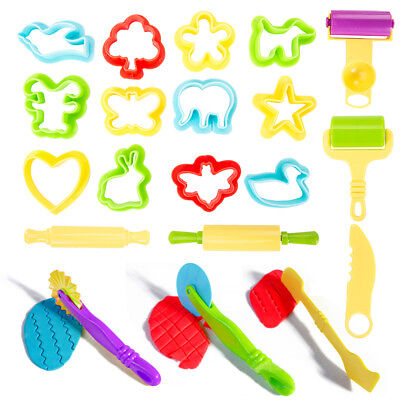 Pack Of 20 Dough Tools Play Modelling Doh Clay Craft Rolling Pins Cookie Cutters